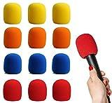 GLOBALDREAM Filtro Antiviento Microfono, 12 Piezas Esponja Microfono Cubierta de Micrófono, Perfecto para Grabación, 2,95 x 2,36inches/75mm x 60mm, 4 Colores