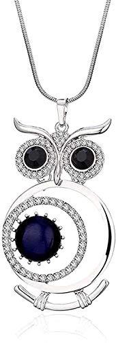 NC110 Plata Encanto Vintage Búho Colgante Ojo de Gato Collares de Diamantes de imitación Collares de Animales de Cristal Plateado Joyería de Moda para Mujeres Colgantes