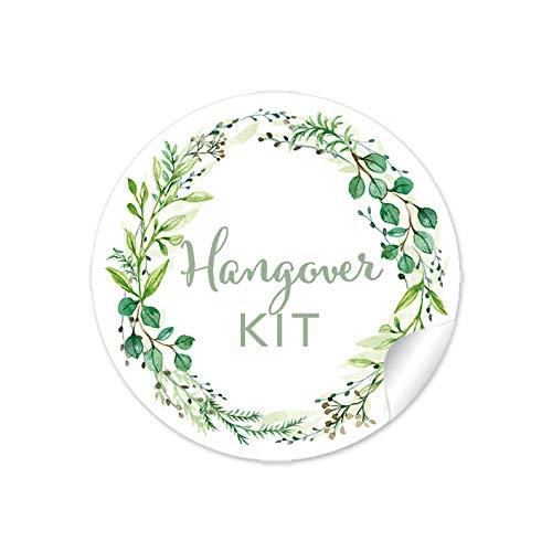 """24 STICKER:\""""Hangover KIT\"""" in Grün mit Zweigen • Für Gastgeschenke zur Hochzeit für den Tag danach • Hochzeit Survival Kit Hochzeitsparty Party Geburtstag • 4 cm, rund, matt"""