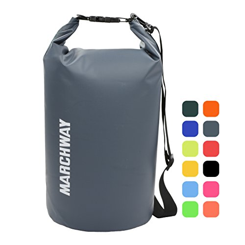 MARCHWAY Floating Waterproof Dry Bag Backpack 5L/10L/20L/30L/40L, Roll Top Pack Sack Keeps Gear Dry for Kayaking, Rafting, Boating, Swimming, Camping, Hiking, Beach, Fishing (Grey, 40L)