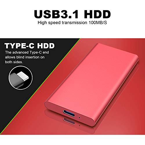 Disco Duro Externo 2 TB,Portátil Type C USB3.1 HDD para PC, Mac, Xbox One, MacBook.(2TB,Rojo) miniatura