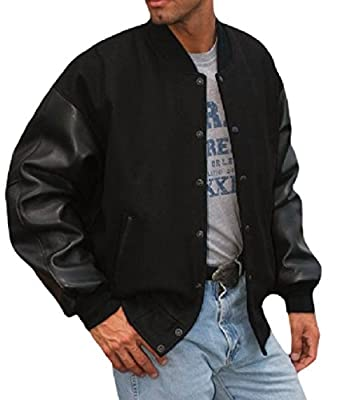 REED Men's Varsity Leather/Wool Jacket XL Black by REED