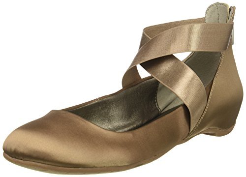 Kenneth Cole REACTION Women's Pro-time Ballet Flat with Elastic Ankle Strap, Back Zip-Satin, Mink, 6 M US