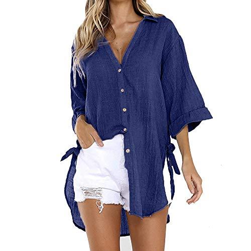 iYmitz Damen Langarmshirt mit Pocket Tunika Tops Einfarbig Schaltflächen Hemd T Shirt Bluse Lose Bluse Hemd Pullover Tunika Top mit Taschen Knopfleiste Bluse(Marine,L)