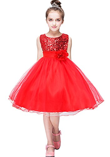 YMING Sequin Girl's Dress Party Tutu Dress Lace Princess Dresses Red 6-7 Years