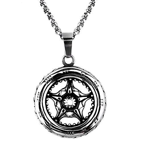 HLY Einfache Temperament Halskette, europäische und amerikanische Punk Domineering Retro römischen Reifen Rad Anhänger Titan Stahl Männer 'S Halskette