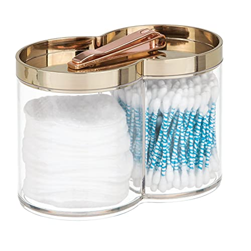 mDesign Aufbewahrungsbox aus Kunststoff – geeignet als Wattepad Spender und Wattestäbchen Behälter – mit Trennwand – stapelbar und mit praktischem Deckel – durchsichtig und messingfarben