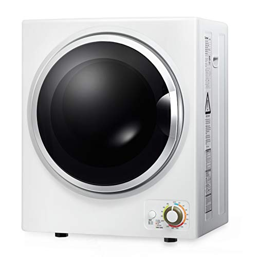 ARLIME 850W Compact Laundry Dryer, 110V Electric Portable Clothes Dryer with Stainless Steel Tub, Control Panel Downside Easy Control for 4 Automatic Drying Mode for Variety Drying Mode, White
