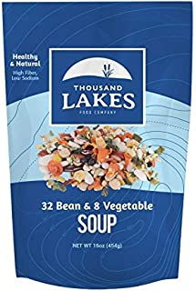 Thousand Lakes 32 Bean and 8 Vegetable Dry Soup Mix - 16 ounces (1 pound)
