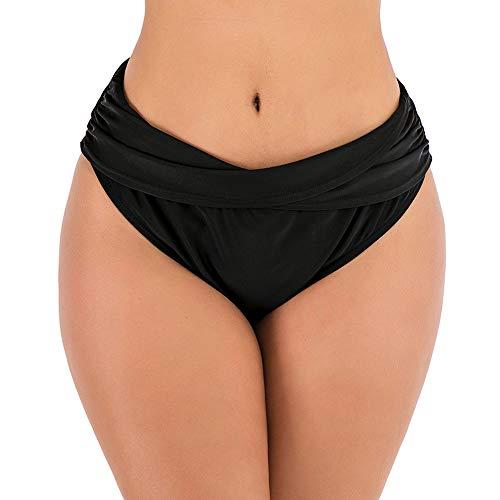 DODOING Damen Badeanzug Badehose Bikinihose mit Raffungen Tankinihose Hoch Geschnitten Badeshorts Bikinislip Unterteil Bauch Weg