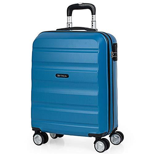 ITACA - Maleta de Viaje 55x40x20 cm Cabina Avion Trolley ABS Lisa. Equipaje de Mano. Pequeña Rígida Práctica y Ligera. 4 Ruedas y Candado. Calidad y Diseño. Viajes Cortos, T71650, Color Azul
