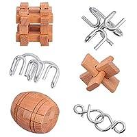 Tomaibaby 子供と大人のための脳ティーザー金属と木製のパズルマインドIQとロジックテストとハンドヘルド解きほぐしゲーム3Dコイルキャストワイヤーチェーンと木製の教育玩具
