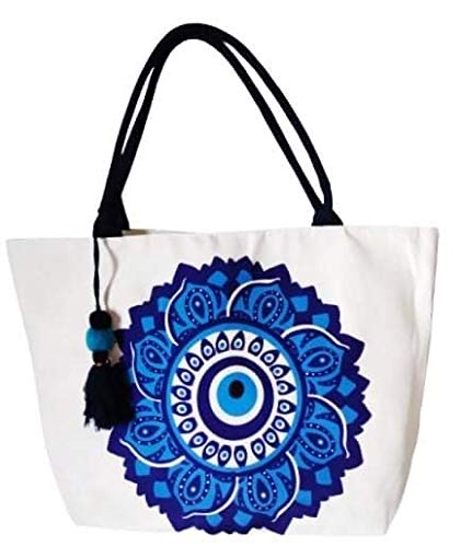 Goods4good Bolso Grande Playa Piscina Mujer con Diseño de Mandala 57x38cm con Pompón Regalo Verano (Azul)
