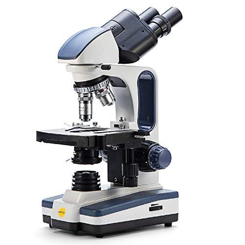 SWIFT microscopio binocular composto SW350B per ricerca laboratorio, Ingrandimento 40X-2500X, testa Siedentopf,oculari grandangolari 10X e 25X, tavolino meccanico, condensatore Abbe(SPINA BRITANNICA)