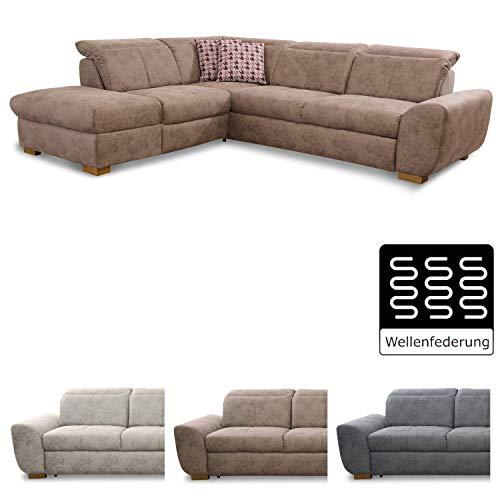 Cavadore Ecksofa Bules mit Ottomane links / Großes Sofa im modernen Design / 274 x 81 x 232 cm (BxHxT) / Kunstleder braun