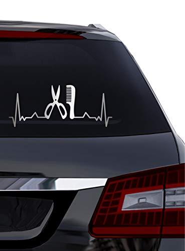 BlingelingShirts Auto Aufkleber Heartbeat Kamm und Schere 50 cm Herzschlaglinie EKG Friseur Stylist Haarstudio Wandaufkleber Autoaufkleber Wandtattoo Decal Silber