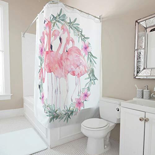 Gamoii Blumen Girlanden Kranz Flamingo Duschvorhang Bad Vorhang Bedruckt Badezimmer Vorhänge Bad Dekor Shower Curtain mit Duschvorhangringe White 150x200cm
