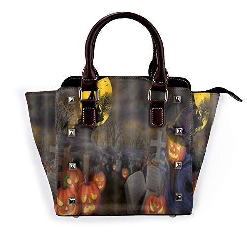 BROWCIN Halloween Kürbis Laterne Grab Ackerland Herbst Ernte Hexenhut Moonlight Dead Tree Abnehmbare mode trend damen handtasche umhängetasche umhängetasche