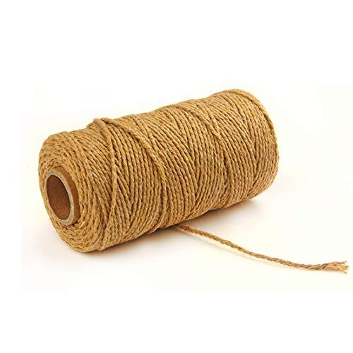 Hecha a Mano Craft Cuerda,Cordel de Algodón,natural trenzado algodon,Hilo Macramé,para Envolver Regalo Navidad Colgar Fotos Manualidades Costura (Naranja)