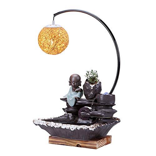 Zhicaikeji Fuentes de Interior Decoración de cerámica Creativa con Office Lámpara de cabecera Tabla Feng Shui Lucky Fuente de Agua para Casa (Color : Photo Color, Size : 40.5x61CM)