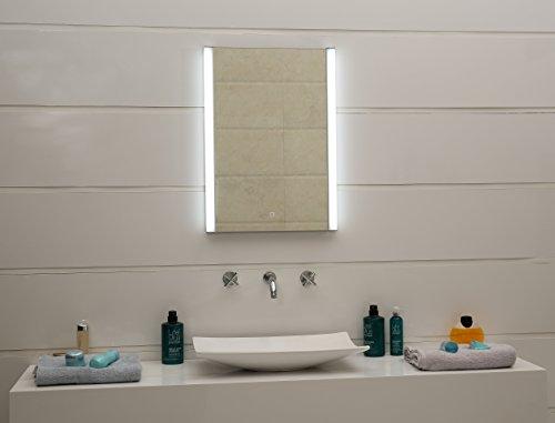 Miroir de salle de bain design à LED - Avec variateur à 3 niveaux - Ultra clair - Avec interrupteur tactile GS100T - Blanc neutre - Blanc chaud (50 x 70 cm)
