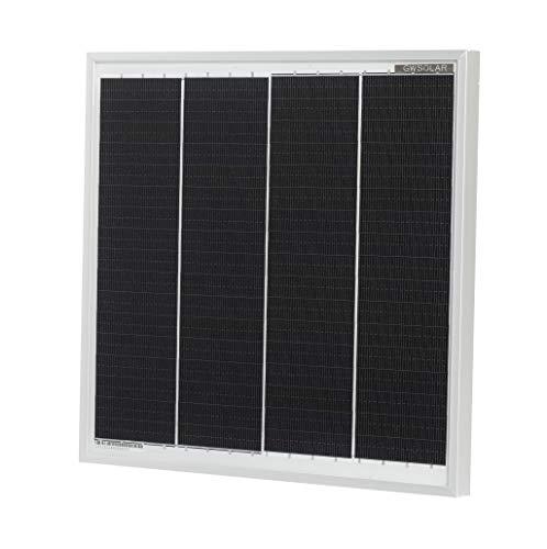 GWSOLAR 太陽光パネル 12W/24V充電用 /最大動作電圧 37.5V/ 24Vバッテリー充電、船舶・トラック・重機バッテリー上がり防止/ 超小型・軽量・高効率 /サイズ: 26.4X27.7X1.7cm /質量: 900g、逆流防止ダイオード付き/単結晶PERC太陽電池のEclipse Off-gridシリーズ/スモールサイズ・次世代型 24Vソーラーパネル/バスバーレス仕様・船舶・小型発電に最適 GWソーラー(型番: GW-012-E0F4Y)