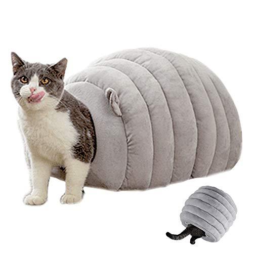Ksweet Katzenhaus Winterfest Micro-Plüsch/Velours das Kuschelhöhle mit Wendekissen Katzenkorb zum Schlafen Warme Katzenbett für Katzen (S-46 * 36 * 30cm, Grau Kuschelhöhle)