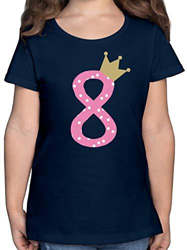 Geburtstag Kind - 8. Geburtstag Krone Mädchen Achter - 140 (9/11 Jahre) - Dunkelblau - geburtstagsshirt acht - F131K - Mädchen Kinder T-Shirt