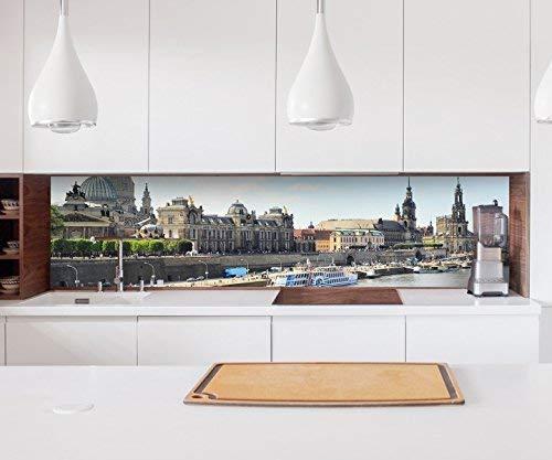 Aufkleber Küchenrückwand Skyline Dresden Hafen Stadt Folie selbstklebend Dekofolie Fliesen Möbelfolie Spritzschutz 22A986, Höhe x Länge:60cm x 400cm