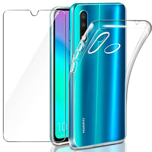 Leathlux Huawei P30 Lite Hülle + Panzerglas, Huawei P30 Lite Durchsichtig Case Transparent Silikon TPU Schutzhülle Premium 9H Gehärtetes Glas für Huawei P30 Lite