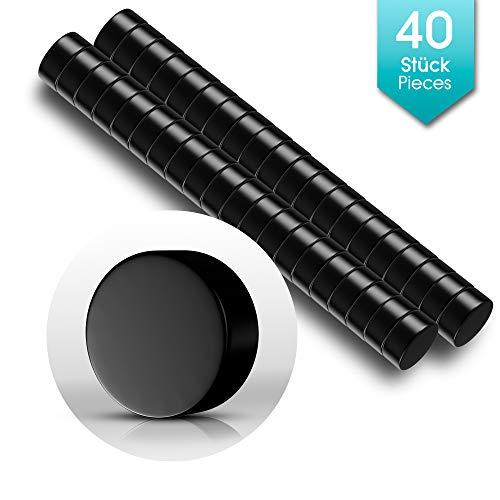 40 Premium Mini Magnete Schwarz | Neodym Magnet Schwarz - Rund - Klein | 6 x 3mm