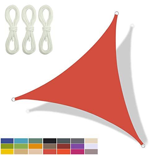 HAIFEI Toldo Vela De Sombra Triangular, Toldo Impermeable, Protección UV, para Fiesta En El Patio De La Terraza del Jardín Al Aire Libre, Contiene 3 Cuerdas De Fijación (5 * 5 * 5 m,4)