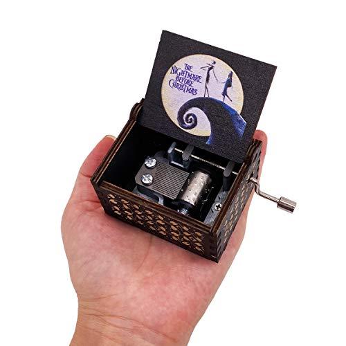 The Nightmare Before Christmas Spieluhr, Handkurbel, geschnitztes Holz, Musik-Geschenke für Fans (weiß-schwarz)