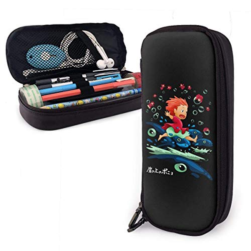 Yuanmeiju Anime Ponyo On The Cliff Leather Mäppchen Big Capacity with Zipper High Capacity Pen Pencil Pouch Desk Organizer Practical Bag Holder