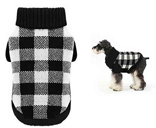 "A&L White Black Plaid Knitted Holiday Festive Turtleneck Pet Sweater for Small Dogs, Cat Warm Coat Apparel, Winter Knitwear Pet Clothes for Cold Weather Small (S) 12"" Back Length"