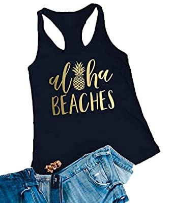 Aloha Beaches Tank Tops Vacation Bachelorette Party Funny Pineapple Letter Print Vest Hawaiian Shirt for Women