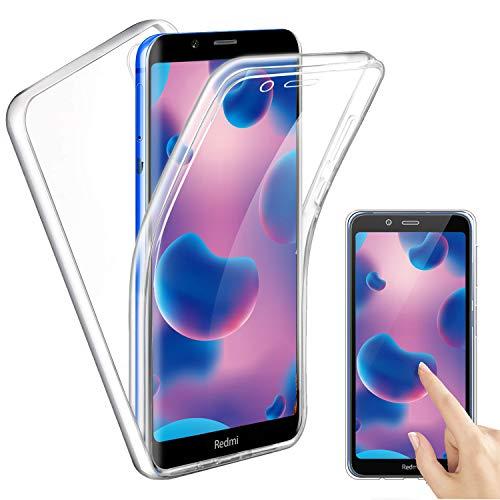 Funda para Xiaomi Redmi 7A, Transparente TPU Silicona + PC 2 en 1 360°Full Body Anti-Arañazos Protectora Carcasa Case Cover para Xiaomi Redmi 7A
