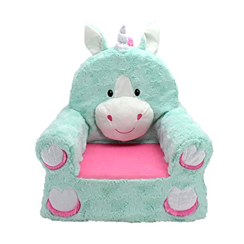 Animal Adventure | Sweet Seats | Teal Unicorn Children's Plush Chair, Larger :14' x 19' x 20'