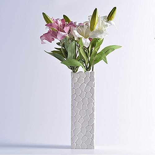 花器 セラミック花瓶 北欧 生け花 装飾品 陶器 シンプルなデザイン フラワーベース インテリア飾り (8*8*27) (黑 004)
