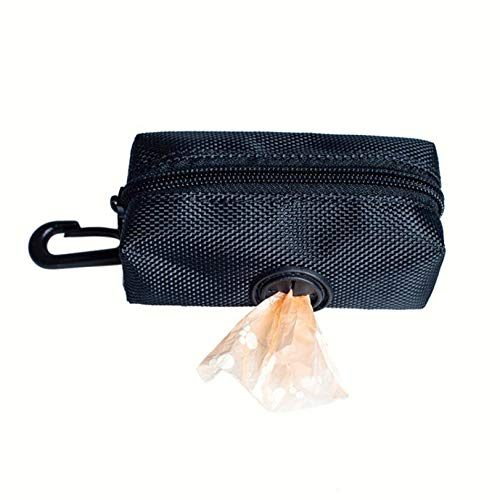 GLJYG Soporte para bolsas de basura de poliéster para mascotas, soporte para bolsas de basura, portátil para mascotas, para correr, caminar o hacer senderismo, color negro