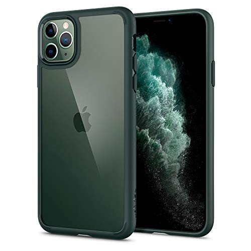 Spigen Ultra Hybrid Kompatibel mit iPhone 11 Pro Hülle, Einteilige Transparent PC Rückschale Handyhülle für iPhone 11 Pro Hülle Midnight Green ACS00417