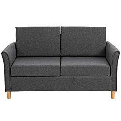 ✅TWO-SEATER SOFA: Compact yet spacious enough to spend time with friends or grab some extra time-out space to yourself. It is ideal for home office, living room, dorm or other limited spaces. ✅SOFT UPHOLSTERY: Linen-touch polyester fabric ensures eas...