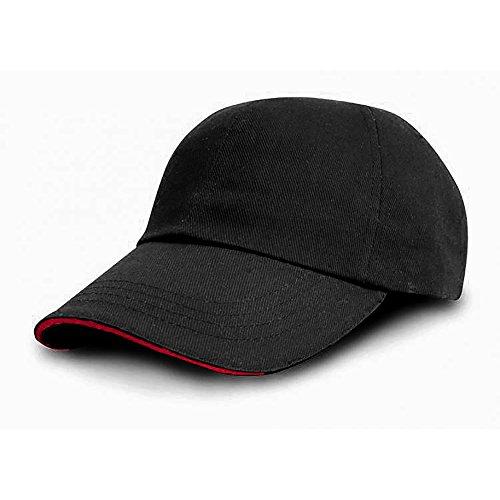 Result - Casquette Style Pro - Adulte Unisexe (Taille Unique) (Noir/Rouge)