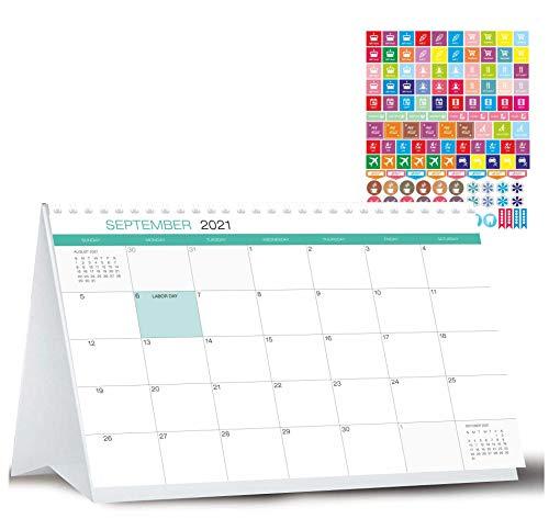 Desk Calendar from October 2020 Through January 2022 with Stickers -16 Months Classic Flip Calendar - Desktop Calendar 2021 - Tent Office Calendar