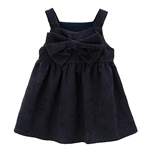 Venjoe Toddler Kids Girl Strap Suspender Corduroy Skirt Overalls Outfits Bib A-line Pinafore Dress Black 5-6 Years