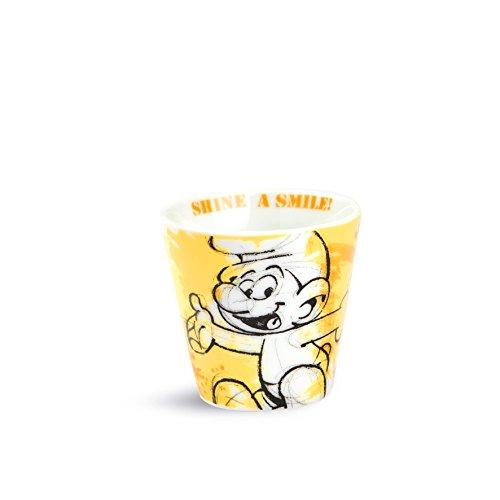 I Puffi Die Schlümpfe ppu83/4G Becher Kaffee, Typ Schlumpf glücklich, Porzellan, Gelb, 4Stück