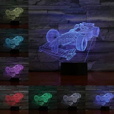 Cool sports car luz 3D LED cálido multicolor puerto USB base luz nocturna decoración mesa de dormitorio familiar hermosa decoración de placas lámparas