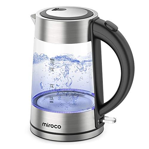 Miroco Glas Wasserkocher, Wasserkocher 1.7 Liter Edelstahl Glaswasserkocher mit Filterauslauf, Glaswasserkocher mit LED-Innenbeleuchtung Trockenlaufschutz, BPA-Frei- 2200W
