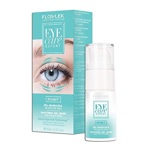 FLOSLEK Beruhigende Gel-Maske für die Augen-Partie | 15 ml | Ufassende Pflege | für Müde Haut, Augenringe, Tränensäcke, Krähenfüße und Schwellungen