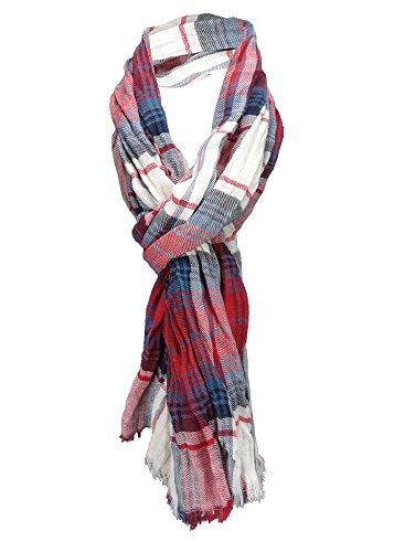 TigerTie gecrashter sjaal in rood bordeaux blauw grijswit geruit met kleine franjes - maat 190 x 75 cm.